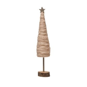 "3-1/2"" Round x 18-1/2""H Wool Tree w/ Glitter & Gold Star on Wood Base, Blush Color"