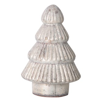 "5-3/4""H Embossed Mercury Glass Tree, Antique White Finish"