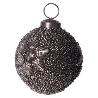 "3"" Round Glass Ball Ornament w/ Metal Flowers, Antique Gunmetal Finish"