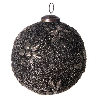 "5"" Round Glass Ball Ornament w/ Metal Flowers, Antique Gunmetal Finish"