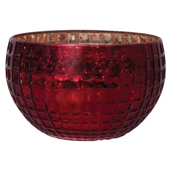 "8-3/4"" Round x 5-1/2""H Decorative Debossed Mercury Glass Bowl, Red"
