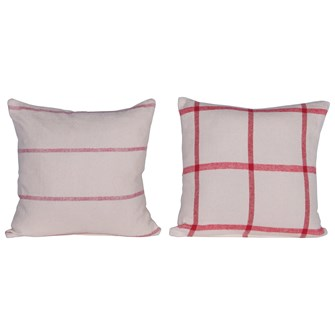 "20"" Square Brushed Cotton Pillow w/ Pattern, Red & Cream Color, 2 Styles"