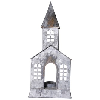 "5-1/4""L x 3-1/2""W x 12-1/2""H Galvanized Metal Church"
