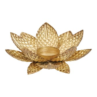 "7-1/2"" Round x 2-1/2""H Hammered Metal Flower Tealight Holder, Antique Brass Finish"