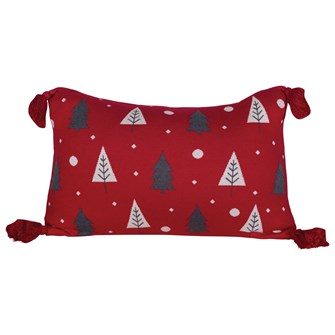 "24""L x 16""H Cotton Knit Lumbar Pillow w/ Tassels & Trees, Red, White & Grey"