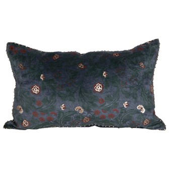 "20""L x 12""H Cotton Floral Lumbar Pillow, Blue, Rose & Gold Color"