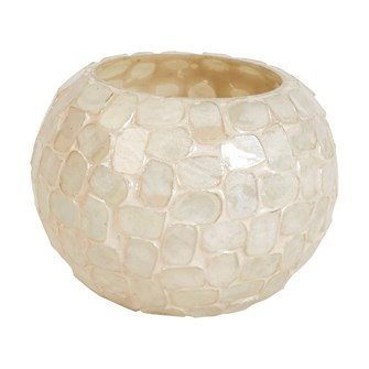 "4"" Round x 3""H Glass Mosaic Votive Holder, White"