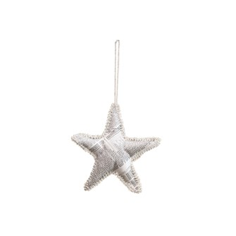 "5""H Handmade Paper Star Ornament w/ Glass Beads, White (Each One Will Vary)"