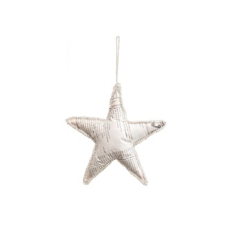 "7""H Handmade Paper Star Ornament w/ Glass Beads, White (Each One Will Vary)"