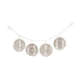 "12-1/4""L x 3""H Handmade Paper Garland w/ Glass Beads ""Love"", White (Each One Will Vary)"