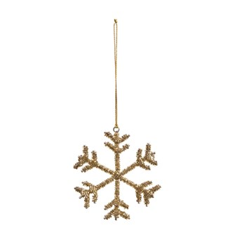 "4""H Glass Bead & Metal Snowflake Ornament, Gold Finish"