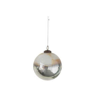"5"" Round Glass Ball Ornament, Silver & White"