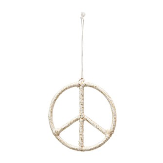 "4-1/2"" Round Yarn Wrapped Wire Peace Sign Ornament, Cream & Gold Color"