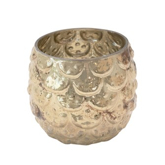 "3-1/2"" Round x 3-1/4""H Embossed Glass Votive Holder w/ Scallops, Reactive Glaze, Silver & Gold Finish (Each One Will Vary)"
