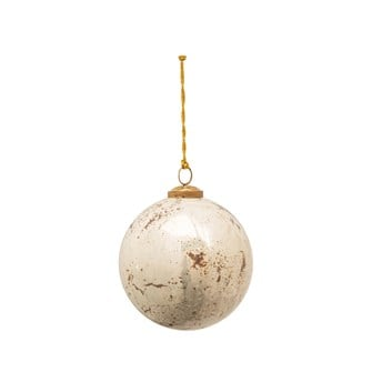"6"" Round Glass Ball Ornament, Reactive Glaze, Antique White (Each One Will Vary)"