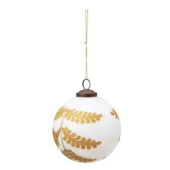 "2"" Round Glass Ball Ornament w/ Hand-Painted Fern, White & Gold"