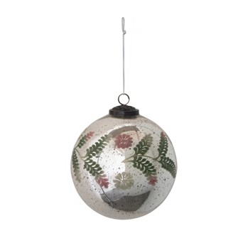 "6"" Round Etched Mercury Glass Ball Ornament w/ Floral Pattern, Silver, Pink & Green"