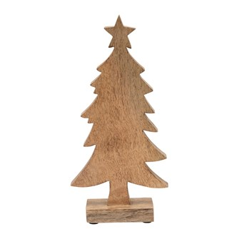 "5-1/2""L x 2-3/4""W x 12-1/4""H Hand-Carved Mango Wood Christmas Tree on Stand"