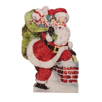 "15-3/4""L x 23-1/2""W MDF Vintage Reproduction Standing Santa Claus on Easel, Multi Color (Hangs or Sits)"