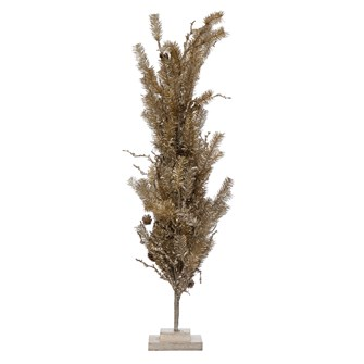 "10"" Round x 31-1/2""H Faux Pine Tree w/ Wood Base & Pinecones, Silver & Gold Finish"