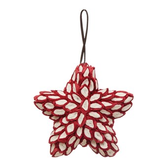 "5""H Handmade Paper Star Ornament, Red & Natural"