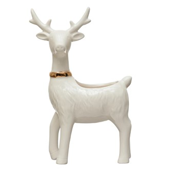"5""L x 2""W x 7-1/2""H Stoneware Reindeer Planter w/ Gold Electroplating, White"