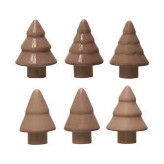 "1-3/4"" Round x 2-1/2""H Stoneware Tree, 3 Styles, 2 Colors"