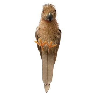 "8""H Sisal Parrot Ornament, Natural & Pink"