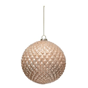 "6"" Round Hobnail Glass Ball Ornament w/ Silver Glitter, Pink"