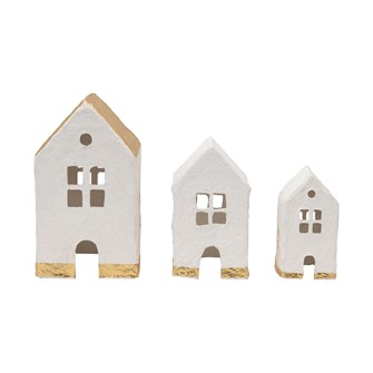 "6-1/2""L x 6""W x 12""H, 4-1/4""L x 5""W x 8""H & 4""L x 3-1/2""W x 7""H Handmade Paper Mache Houses, White & Gold Color, Set of 3"